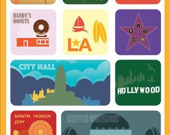 Los Angeles Art Poster, Los Angeles Print Wall Decor, Los Angeles Attractions, Bar Decor, Travel Art, Kitchen Art, Retro Poster