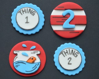 12 Dr. Seuss Cat in the Hat Cupcake Toppers-Fondant