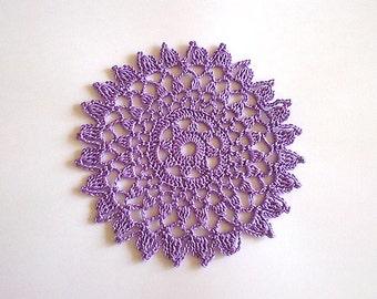 Crochet Doily, Mini Doily, Lavender Doily, Violet Doily, Small Doily, Round Doily, Lace Doily, Crochet Lace Doily
