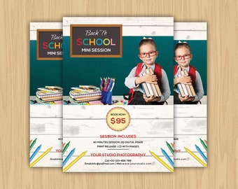 Back to School Mini Session Template | Back to School Photography Marketing Board | Photoshop and Elements Template | Instant Download
