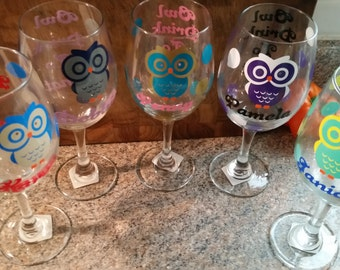 Owl, wine glass owl, owl drink to that, personalized owl, personalized wine glass, owl gifts