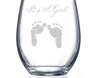 2 Baby shower glass, custom,personalized wine glass