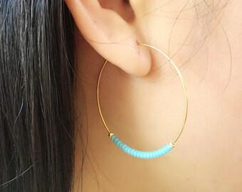 Turquoise hoop earrings,  gold hoop earring, beaded gold earrings, dangle hoop earrings, hoop earrings, gold hoops, big hoop earrings