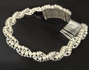 Pearl and Rhinestone Wedding Headband, Bridal Headpiece, Rhinestone Headband, Hair Tiara, Flower Girl,Hair Jewelry, Hair Accessory-HA024