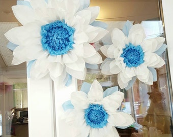 Set of  3x 45cm & 28cm  Frozen Tissue Paper Flower/pom pom/ Wedding/Birthday/Centerpiece