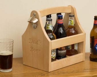 Beer caddy / bottle holder with opener in Ash