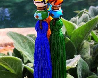 African Queen Lamp-work Tassel Necklace