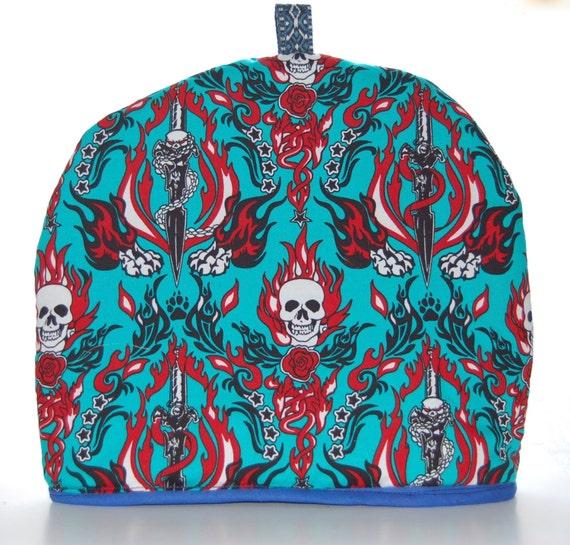 Flaming Skull Tea Cosy, Handmade - 2 Sizes Available 27cm & 22cm