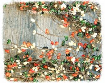 Pumpkin Patch Pip Berry Garland, Orange Pip Berry, Berry Garland, Fall Garland, Autumn Garland, Seasonal Garland, Pip Berry, Pip Berries