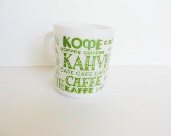 Cafe Mug Languages of the World---  Milk Glass Mug
