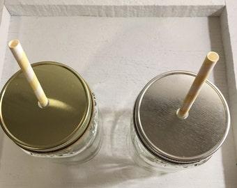 Mason jar lids, Mason jar one hole straw lids , 10 mason jar cup lids, wedding, Party cups