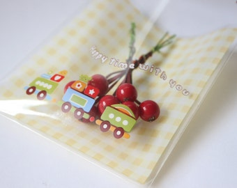 Playful little train clear gift bags - Set of 50