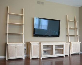Custom wood entertainment cabinet