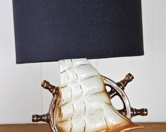 Vintage retro sailing ship ships wheel hipster ceramic table lamp original bespoke by empiricalstyle edison globe included