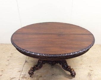 French Antique Hunting Black Forest Walnut Oval Dining Table 19th Century #5005