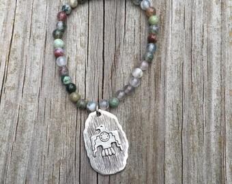 Beaded Bracelet // Fancy Jasper Beaded Bracelet + Silver Plated Thunderbird Charm // Boho // Bohemian Bracelet