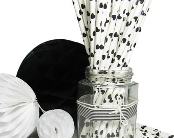 Straws 25x paper drinking black hearts party birthday vintage wedding favour