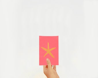 Illustration Golden Starfish - serigraph A6