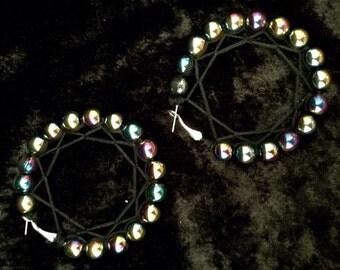 RAINBOW HEMATITE hoop earrings