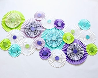 Paper Rosettes - Chevron Pinwheels - Pinwheel Backdrop - Paper fans - Nursery Decoration - Pinwheel Backdrop - Mermaid Party Decorations