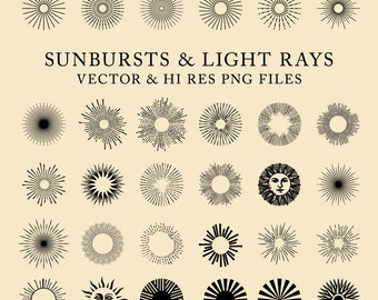 42 Vintage Sunbursts, Light Rays Clipart Clip Art PNG & Vector EPS, AI Design Elements Digital Instant Download