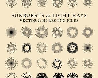 42 Vintage Sunbursts, Light Rays Clipart Clip Art PNG & Vector EPS, AI Design Elements Digital Instant Download