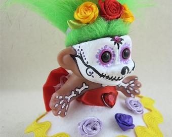 Day of the Dead Doll, Dia de los muertos Doll, Troll Doll, Hand Painted Doll, Hand Crafted Day of the Dead Doll, Art Doll