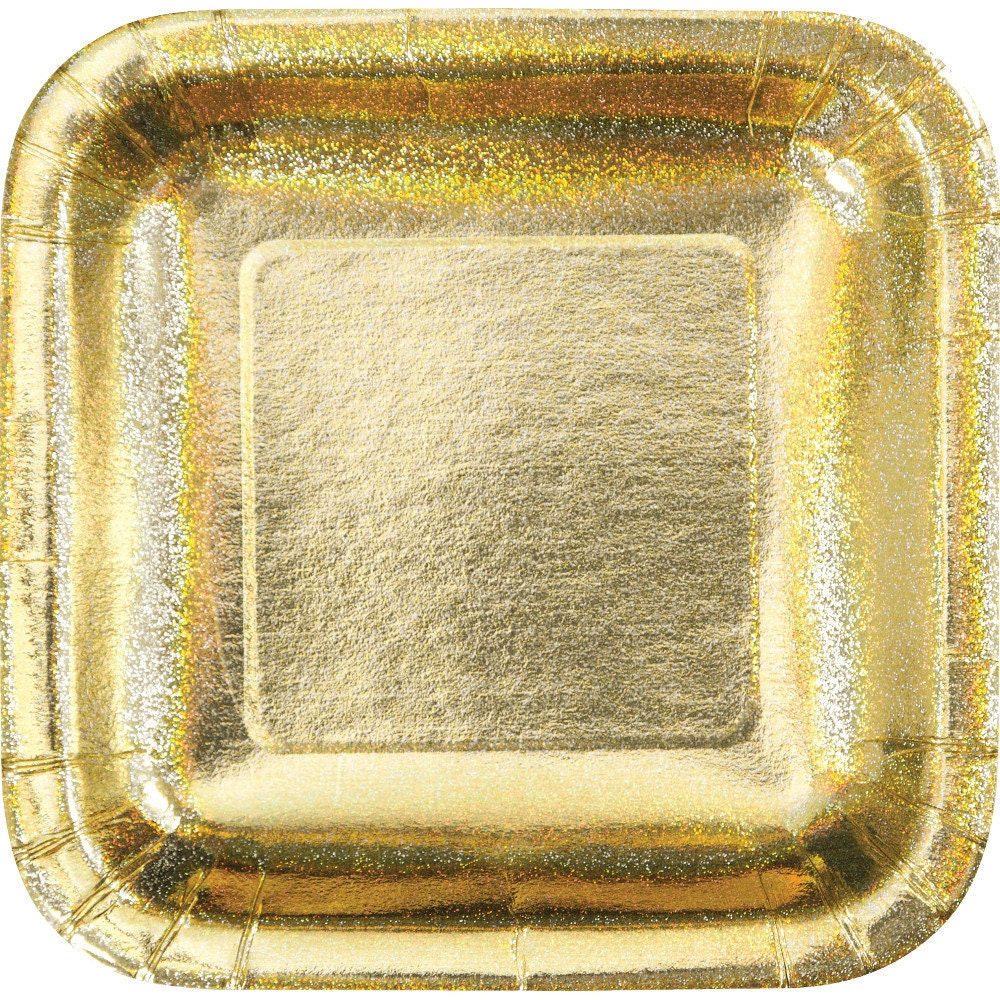 Gold Plates Metallic Gold Foil Paper Plates Square Holiday