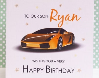 HANDMADE Personalised Card - Yellow Sports Car - Birthday Card for Dad Daddy Son Brother Grandad Nephew Uncle Cousin Male Friend
