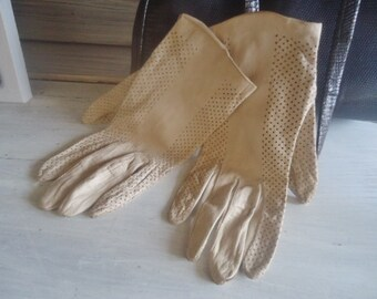 Vintage leather gloves, spring gloves,wedding gloves,ceremony gloves, French gloves