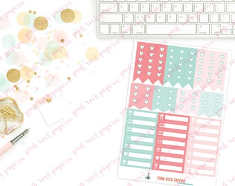 Pink & Mint Geo Collection - Full and Half Check Lists and Appointment Stickers for Erin Condren Life Planners