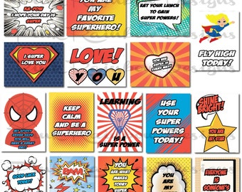 Superhero Lunch Box Note Cards with Motivational Messages for Kids Children Kindergarten | girl/boy back to school | Cute | Love Notes