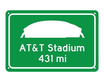 Custom Dallas Cowboys AT&T Stadium Road Sign - Customize the Distance