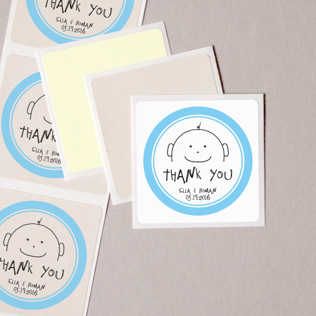 Baby Shower Thank You Stickers Blue Baby Boy Personalized