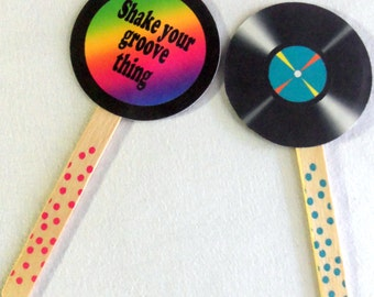 70's cake toppers, 70's party cake toppers, I love the 70s cake toppers, 80s cake toppers 70s party cake toppers, I love the 80s cake topper