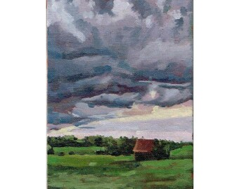 Landscape Oil Painting, Skyscape Painting, Clouds Oil Painting, Original Oil Painting, Plein Air Painting,  Sky and Cloud Painting, Original