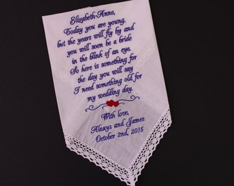Flower Girl Handkerchief, intertwine  hearts, red or any color, Flower girl gift, wedding hankies, hankerchief. Today you are young.LS0F38