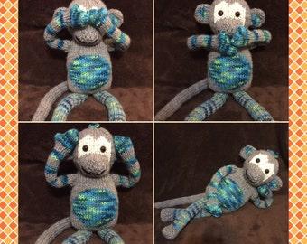 Cheeky monkey,softie, stuff animal, child toy, handknitted