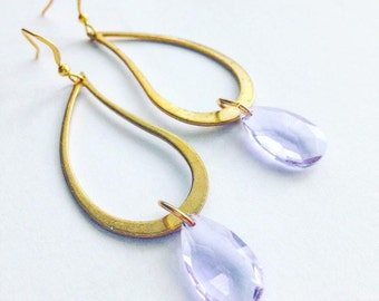 Earings gold with lilac Crystal