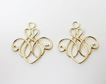 P0425/Anti-tarnished Matte Gold Plating Over Brass /Vase Motivated Pendant/23x25mm/2pcs