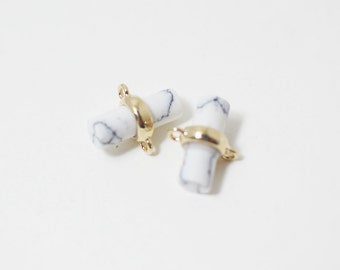 P0260/Anti-Tarnished Gold Plating Over Brass+Howlite Stone/Cylinder Glass Charm Connector/9x 5.mm/2pcs