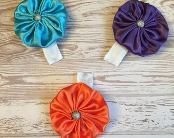 Yoyo hair bows, satin hair bows, hair clips