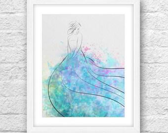 Watercolor Girl 2, Watercolor Art, Watercolor Dress, Watercolor Fashion Art, Fashion art, Printable art, Watercolor dress