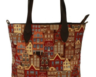 Tapestry Handbag Flemish House 55x40cm (21,6 X 15,7 inches)