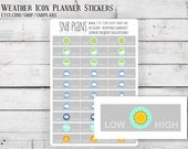 Weather Tracking // Colorful// 30 Planner Stickers // Perfect for Erin Condren, Plum Planner, Kikki K, and Filofax Planners