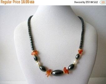 ON SALE Vintage Hematite Faux Pearls Gold Tone Spacers Transparent Orangey Stones Necklace 63016