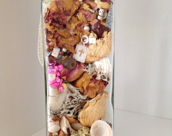 SALE!! Treasures From the Past; Beach in a Bottle; Dried Flowers Potpourri; Upcycled Bottle; Altered Art Bottle Decor; Sea Glass and Shells