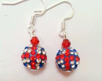 union jack glitter ball earrings, red white and blue earrings, patriotic earrings, british flag earrings, union jack flag earrings