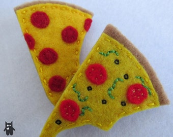 Hand Sewn Felt Cheesy Pizza Brooch//Choose your toppings!
