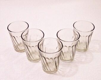 Vintage Faceted Glasses. Soviet Set of Shot Glasses. 5 Old Vodka Glasses in One Listing.  Gift for him.